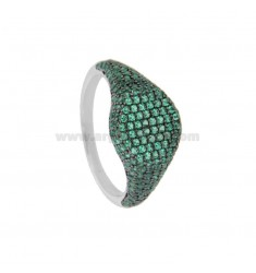 RING CHEVALIER ROUND 10 MM SILVER RHODIUM TIT 925 ‰ AND GREEN ZIRCONIA SIZE 12