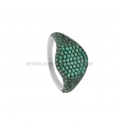 RING CHEVALIER ROUND 10 MM SILVER RHODIUM TIT 925 ‰ AND GREEN ZIRCONIA SIZE 8