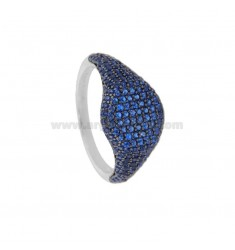 RING CHEVALIER ROUND 10 MM SILVER RHODIUM TIT 925 ‰ AND ZIRCONIA BLUE SIZE 12