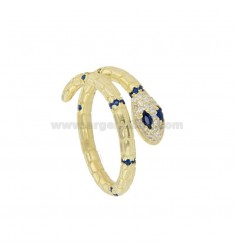 SNAKE RING IN GOLDEN SILVER TIT 925 AND WHITE ZIRCONIA AND BLUE ADJUSTABLE SIZE OF 12