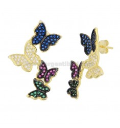DEGRADE BUTTERFLY EARRINGS IN SILVER SILVER TIT 925 ‰ AND COLORED ZIRCONIA