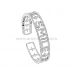 SMILE RIGID BRACELET IN SILVER RHODIUM TIT 925 AND ZIRCONIA