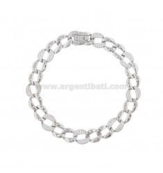 CHAIN BRACELET IN SILVER RHODIUM TIT 925 AND ZIRCONIA CM 18-20
