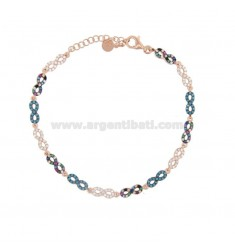 INFINITI BRACELET IN SILVER ROSE TIT 925 AND COLORED ZIRCONIA 18-20 CM