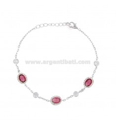 BRACELET IN SILVER RHODIUM TIT 925 AND COLORED ZIRCONIA CM 18-20