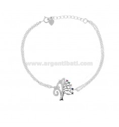 BRACELET WITH TREE OF LIFE IN SILVER RHODIUM TIT 925 AND ZIRCONIA CM 18-20