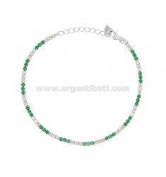 2.5 MM TENNIS BRACELET IN SILVER RHODIUM TIT 925 AND WHITE AND GREEN ZIRCONIA CM 18-20