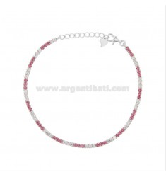2.5 MM TENNIS BRACELET IN SILVER RHODIUM TIT 925 AND WHITE AND PINK ZIRCONIA CM 18-20