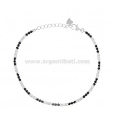 2.5 MM TENNIS BRACELET IN SILVER RHODIUM TIT 925 AND WHITE AND BLACK ZIRCONIA CM 18-20