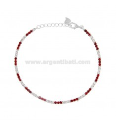 2.5 MM TENNIS BRACELET IN SILVER RHODIUM TIT 925 AND WHITE AND RED ZIRCONIA CM 18-20