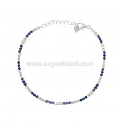 2.5 MM TENNIS BRACELET IN SILVER RHODIUM TIT 925 AND WHITE AND BLUE ZIRCONIA 18-20 CM