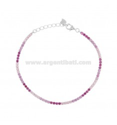 TENNIS BRACELET 2.5 MM SILVER RHODIUM TIT 925 AND ZIRCONIA PINK AND FUCHSIA 18-20 CM