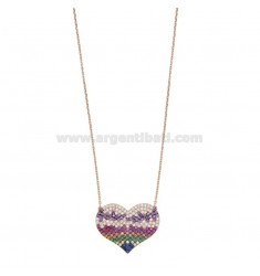 NECKLACE CABLE WITH HEART IN SILVER ROSE TIT 925 AND COLORED ZIRCONIA CM 45