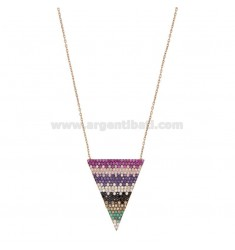 NECKLACE CABLE WITH TRIANGLE SILVER ROSE TIT 925 AND COLORED ZIRCONIA CM 45