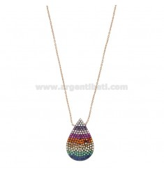 NECKLACE CABLE WITH DROP IN SILVER ROSE TIT 925 AND COLORED ZIRCONIA CM 45