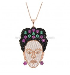 CABLE COLLAR CON FRIDA EN PLATA ROSA TIT 925 Y ZIRCONIA COLOREADA CM 60