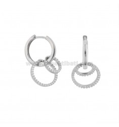 RING EARRINGS WITH RING IN SILVER RHODIUM TIT 925 AND WHITE ZIRCONIA