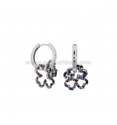 EARRINGS IN A CIRCLE WITH QUADRIFOGLIO IN SILVER RHODIUM TIT 925 AND ZIRCONI RAINBOW