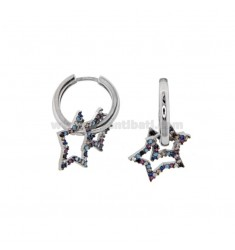 RING EARRINGS WITH RHODIUM SILVER STAR TIT 925 AND RAINBOW ZIRCONIA