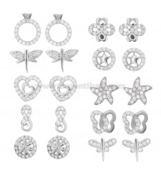 EARRINGS VARIOUS MODELS 10 PAIRS IN SILVER RHODIUM TIT 925 AND ZIRCONIA