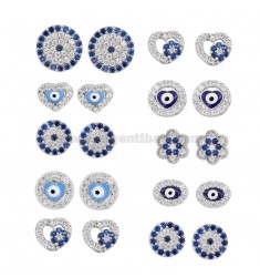 EARRINGS EYE VARIOUS MODELS 10 PAIRS IN SILVER RHODIUM TIT 925 AND WHITE AND BLUE ZIRCONIA