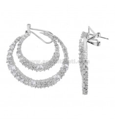 FANTASY EARRINGS IN SILVER RHODIUM TIT 925 AND WHITE ZIRCONIA