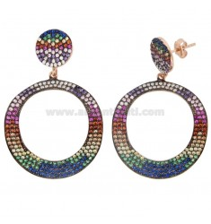 PENDANT EARRINGS IN SILVER ROSE TIT 925 AND RAINBOW ZIRCONIA