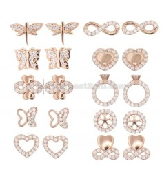 EARRINGS VARIOUS MODELS 10 PAIRS IN SILVER ROSE TIT 925 AND ZIRCONIA