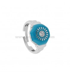 CHEVALIER RING IN SILVER RHODIUM TIT 925 ENAMEL AND ZIRCONIA MEASURE ADJUSTABLE SPINNER
