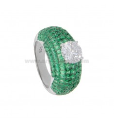 RING IN SILVER RHODIUM TIT 925 AND ZIRCONIA GREEN AND WHITE MIS 16