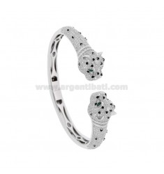 RIGID BRACELET WITH PANTERE IN SILVER RHODIUM TIT 925 AND ZIRCONIA