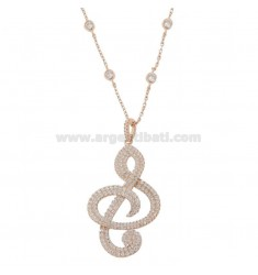 NECKLACE 80 CM WITH VIOLIN KEY IN SILVER ROSE TIT 925 AND WHITE ZIRCONIA