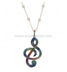 NECKLACE 80 CM WITH VIOLIN KEY IN SILVER ROSE TIT 925 AND ZIRCONIA RAINBOW