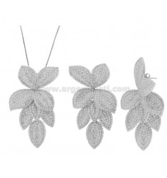 EARRINGS AND NECKLACE 50 CM WITH LEAVES IN SILVER RHODIUM TIT 925 AND WHITE ZIRCONIA
