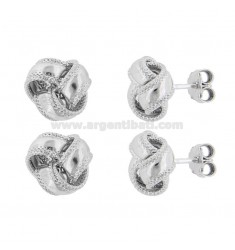 EARRINGS WITH LOBO KNOT MM 12 PCS 2 IN SILVER RHODIUM TIT 925