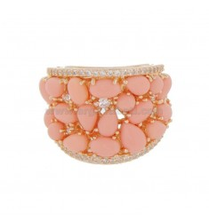 SILVER RING PINK TIT 925 PINK CORAL PASTA AND ZIRCONIA
