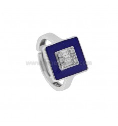 CHEVALIER RING IN SILVER RHODIUM TIT 925 ENAMEL AND ZIRCONIA ADJUSTABLE SIZE