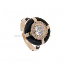 CHEVALIER RING IN SILVER TIT 925 ENAMEL AND ZIRCONIA ADJUSTABLE SIZE
