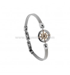 BRACELET IN STEEL WOVEN JERSEY 4 MM WITH HELM IN STEEL AND ZIRCON CM 21