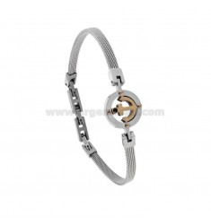 BRACELET IN STEEL WOVEN JERSEY 4 MM WITH STILL IN STEEL AND ZIRCON CM 21