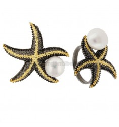 RING AND PENDANT STAR MARINA IN SILVER BICOLOR TIT 925