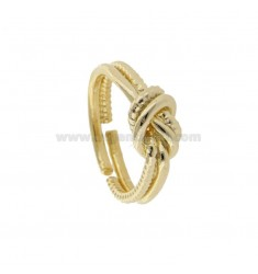 ROD KNOT RING RETURNS IN GOLDEN SILVER TIT 925 ‰ ADJUSTABLE SIZE
