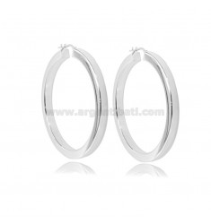 EARRINGS WITH A CIRCLE DIAMETER 40 A SQUARE ROD MM 4,5X4,5 IN SILVER RHODIUM TIT 925