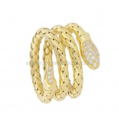SNAKE RING SNAKE MM 3 IN GOLDEN SILVER TIT 925 WITH ZIRCONIA SIZE 16