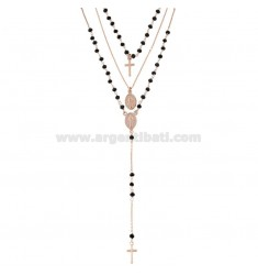3 WIRE NECKLACE ROSARY TYPE WITH BLACK STONES IN SILVER ROSE TIT 925 ‰ CM 40-45