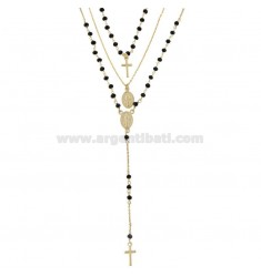 3 WIRE NECKLACE ROSARY TYPE WITH BLACK STONES IN GOLDEN SILVER TIT 925 ‰ CM 40-45