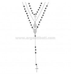 NECKLACE 3 WIRES ROSARY TYPE WITH BLACK STONES IN SILVER RHODIUM TIT 925 ‰ CM 40-45