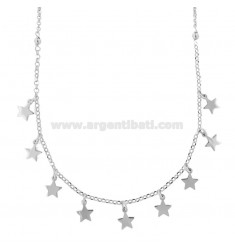 MICRO ROLO NECKLACE 'WITH STARS PENDANTS IN SILVER RHODIUM TIT 925 ‰ CM 40-43