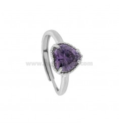 ADJUSTABLE RING WITH 10 MM HEART IN SILVER RHODIUM TIT 925 AND PURPLE ZIRCON