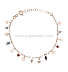 BRACELET WITH HEARTS, STARS AND PENDANT STONES IN ROSE SILVER TIT 925 ‰ CM 17-19